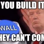trump wall | IF YOU BUILD IT.... THEY CAN'T COME | image tagged in trump wall | made w/ Imgflip meme maker