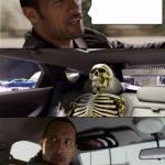 The Rock Driving with Skeleton meme