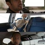 Rock driving skeleton meme