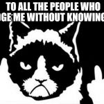 Grumpy Cat Flipping The Bird | TO ALL THE PEOPLE WHO JUDGE ME WITHOUT KNOWING ME | image tagged in grumpy cat flipping the bird | made w/ Imgflip meme maker