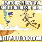 Wile E. Coyote roadrunner | NEWTON'S FIRST LAW OF MOTION DOESN'T APPLY UNTIL YOU LOOK DOWN. | image tagged in wile e coyote roadrunner | made w/ Imgflip meme maker