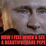 Putin Crying | HOW I FEEL WHEN A SEE A BEAUTIFUL RARE PEPE | image tagged in putin crying | made w/ Imgflip meme maker