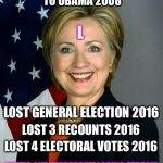 You can only fool SOME of the people SOME of the time  | LOST PRESIDENTIAL NOMINATION TO OBAMA 2008 THAT'S ONE IMPRESSIVE LOSING STREAK! L LOST 4 ELECTORAL VOTES 2016 LOST 3 RECOUNTS 2016 LOST GENE | image tagged in memes,hillary clinton,corrupt,trump,election 2016,loser | made w/ Imgflip meme maker
