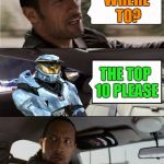 Slow and steady! | WHERE TO? THE TOP 10 PLEASE | image tagged in the rock driving ghostofchurch,my templates challenge,ghostofchurch,top 10,i'm comin for ya | made w/ Imgflip meme maker