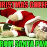 christmas drunk dog | CHRISTMAS CHEERS! FROM SANTA PAWS | image tagged in christmas drunk dog | made w/ Imgflip meme maker