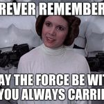 Princess Leia | FOREVER REMEMBERED MAY THE FORCE BE WITH YOU ALWAYS CARRIE. | image tagged in princess leia | made w/ Imgflip meme maker