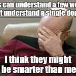 Captain Picard Facepalm Meme | Dogs can understand a few words. I can't understand a single dog bark I think they might be smarter than me | image tagged in memes,captain picard facepalm,trhtimmy,dogs,animals | made w/ Imgflip meme maker