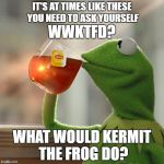 But Thats None Of My Business Meme | IT'S AT TIMES LIKE THESE  YOU NEED TO ASK YOURSELF WWKTFD? WHAT WOULD KERMIT THE FROG DO? | image tagged in memes,but thats none of my business,kermit the frog | made w/ Imgflip meme maker