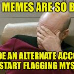 Flag my memes please! That way I know you saw them. | MY MEMES ARE SO BAD I MADE AN ALTERNATE ACCOUNT TO START FLAGGING MYSELF. | image tagged in memes,captain picard facepalm,flag,funny memes,dank memes | made w/ Imgflip meme maker