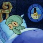 Squidward can't sleep with the spoons rattling meme