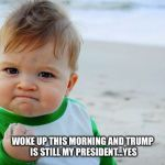 Still my President  | WOKE UP THIS MORNING AND TRUMP IS STILL MY PRESIDENT...YES | image tagged in baby fist pump | made w/ Imgflip meme maker