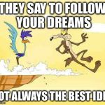 Wile E. Coyote roadrunner | THEY SAY TO FOLLOW YOUR DREAMS NOT ALWAYS THE BEST IDEA | image tagged in wile e coyote roadrunner | made w/ Imgflip meme maker