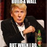 Trump Most Interesting Man In The World | I DON'T ALWAYS BUILD A WALL BUT WHEN I DO, MEXICO PAYS FOR IT | image tagged in trump most interesting man in the world | made w/ Imgflip meme maker