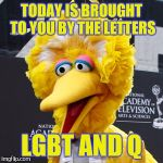 Big Bird Meme | TODAY IS BROUGHT TO YOU BY THE LETTERS LGBT AND Q | image tagged in memes,big bird | made w/ Imgflip meme maker