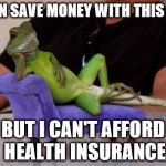 Sassy Iguana Meme | I CAN SAVE MONEY WITH THIS GUY BUT I CAN'T AFFORD HEALTH INSURANCE | image tagged in memes,sassy iguana | made w/ Imgflip meme maker