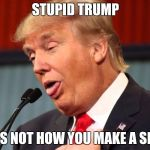 Stupid trump | STUPID TRUMP THAT'S NOT HOW YOU MAKE A SPEECH | image tagged in stupid trump | made w/ Imgflip meme maker