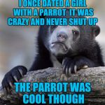 I ONCE DATED A GIRL WITH A PARROT. IT WAS CRAZY AND NEVER SHUT UP THE PARROT WAS COOL THOUGH | image tagged in memes,confession bear | made w/ Imgflip meme maker