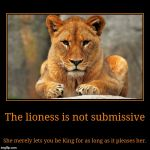 The lioness is not submissive | She merely lets you be King for as long as it pleases her. | image tagged in funny,demotivationals | made w/ Imgflip demotivational maker