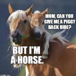 Foal Of Mine Meme | MOM, CAN YOU GIVE ME A PIGGY BACK RIDE? BUT I'M A HORSE. | image tagged in memes,foal of mine | made w/ Imgflip meme maker