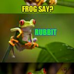 Frog Puns | WHAT DID THE PERVERTED RUBBIT FROG SAY? | image tagged in frog puns,memes,jokes,frogs,laughs,funny memes | made w/ Imgflip meme maker