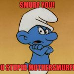 grumpy Smurf  | SMURF YOU! YOU STUPID MOTHERSMURFER! | image tagged in grumpy smurf | made w/ Imgflip meme maker