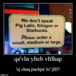 did you know you can find Klingon to English translation on the 'net?  :P | qa'vIn yIteb vItlhap | 'ej chaq puchpa' lo' jIH? | image tagged in funny,demotivationals,klingon,coffee,star trek | made w/ Imgflip demotivational maker