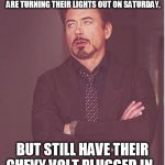 Face You Make Robert Downey Jr Meme | THAT FACE YOU MAKE WHEN ALL THE LIBERALS ARE TURNING THEIR LIGHTS OUT ON SATURDAY, BUT STILL HAVE THEIR CHEVY VOLT PLUGGED IN... | image tagged in memes,face you make robert downey jr | made w/ Imgflip meme maker