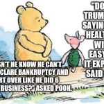 "winnie the pooh and piglet | ""DONALD TRUMP KEEPS SAYING FIXING HEALTHCARE WILL BE EASY ONCE IT EXPLODES,"" SAID PIGLET. ""DOESN'T HE KNOW HE CAN'T JUST DECLARE BANKRUPTCY  