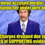Punny News | Woman accused burglar of stealing her under wire bras Charges dropped due to lack of SUPPORTING evidence | image tagged in anchorman news update | made w/ Imgflip meme maker