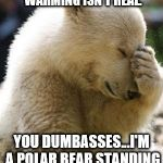 Facepalm Bear Meme | THEY SAY THAT GLOBAL WARMING ISN'T REAL. YOU DUMBASSES...I'M A POLAR BEAR STANDING ON GREEN GRASS! | image tagged in memes,facepalm bear | made w/ Imgflip meme maker