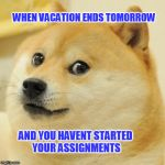Doge Meme | WHEN VACATION ENDS TOMORROW AND YOU HAVENT STARTED YOUR ASSIGNMENTS | image tagged in memes,doge | made w/ Imgflip meme maker