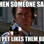 Dirty Harry | WHEN SOMEONE SAYS YOUR PET LIKES THEM BETTER | image tagged in dirty harry | made w/ Imgflip meme maker