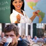 unhelpful teacher vs lazy college senior meme