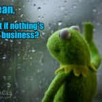 Cheer up, buttercup! | I mean, What if nothing's my business? | image tagged in kermit window | made w/ Imgflip meme maker