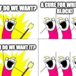 What Do We Want Meme | WHAT DO WE WANT? A CURE FOR WRITER'S BLOCK! WHEN DO WE WANT IT? | image tagged in memes,what do we want | made w/ Imgflip meme maker