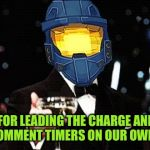 To Dashhopes and easier replies! | TO DASH, FOR LEADING THE CHARGE AND GETTING RID OF COMMENT TIMERS ON OUR OWN MEMES! | image tagged in cheers ghost,dashhopes,get rid of comment timers on your own memes,comment timers,hip hip hooray | made w/ Imgflip meme maker