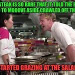 That's one tough cut of beef! | THIS STEAK IS SO RARE THAT IT TOLD THE BAKED POTATO TO MOOOVE ASIDE,CRAWLED OFF THE PLATE AND STARTED GRAZING AT THE SALAD BAR | image tagged in gordon ramsey,steak,bbq | made w/ Imgflip meme maker