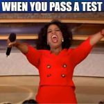 Oprah You Get A Meme | WHEN YOU PASS A TEST | image tagged in memes,oprah you get a | made w/ Imgflip meme maker
