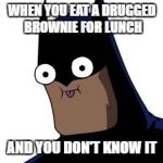 batman derp | WHEN YOU EAT A DRUGGED BROWNIE FOR LUNCH AND YOU DON'T KNOW IT | image tagged in batman derp | made w/ Imgflip meme maker