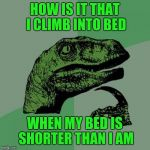 I just asked myself this question as I climbed into bed last night.  LOL | HOW IS IT THAT I CLIMB INTO BED WHEN MY BED IS SHORTER THAN I AM | image tagged in memes,philosoraptor | made w/ Imgflip meme maker
