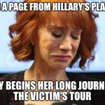 Birds of a feather... | TAKING A PAGE FROM HILLARY'S PLAYBOOK KATHY BEGINS HER LONG JOURNEY ON THE VICTIM'S TOUR | image tagged in kathy griffin crying,hillary | made w/ Imgflip meme maker