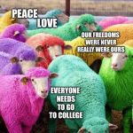 Easter Sheep | WE ARE SPECIAL NOTHING BAD WILL EVER HAPPEN TO US PEACE LOVE OUR FREEDOMS WERE NEVER REALLY WERE OURS EVERYONE NEEDS TO GO TO COLLEGE | image tagged in easter sheep | made w/ Imgflip meme maker