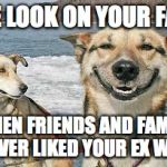 Original Stoner Dog Meme | THE LOOK ON YOUR FACE WHEN FRIENDS AND FAMILY NEVER LIKED YOUR EX WIFE | image tagged in memes,original stoner dog | made w/ Imgflip meme maker