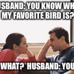 husband wife | HUSBAND: YOU KNOW WHAT MY FAVORITE BIRD IS? NO WHAT?  HUSBAND: YOU  | image tagged in husband wife | made w/ Imgflip meme maker