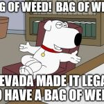 Brian Griffin Meme | BAG OF WEED!  BAG OF WEED NEVADA MADE IT LEGAL TO HAVE A BAG OF WEED! | image tagged in memes,brian griffin | made w/ Imgflip meme maker