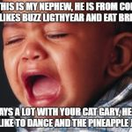 Unhappy Baby Meme | HELLO, THIS IS MY NEPHEW, HE IS FROM COLOMBIA, HE LIKES BUZZ LIGTHYEAR AND EAT BREAD. HE PLAYS A LOT WITH YOUR CAT GARY, HE DOES NOT LIKE TO | image tagged in memes,unhappy baby | made w/ Imgflip meme maker
