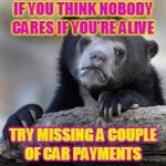 Sad Bear | IF YOU THINK NOBODY CARES IF YOU'RE ALIVE TRY MISSING A COUPLE OF CAR PAYMENTS | image tagged in sad bear,funny,car,sad,jokes | made w/ Imgflip meme maker