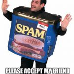 Spam | PLEASE ACCEPT MY FRIEND REQUEST SO I CAN SPAM YOU | image tagged in spam | made w/ Imgflip meme maker