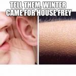Goosebumps | TELL THEM, WINTER CAME FOR HOUSE FREY | image tagged in goosebumps | made w/ Imgflip meme maker