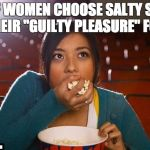 "Girl eating popcorn | 66% OF WOMEN CHOOSE SALTY SNACKS AS THEIR ""GUILTY PLEASURE"" FOOD. 